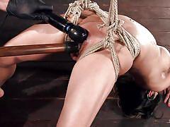 milf, bdsm, big tits, hanging, dildo, vibrator, brunette, tied up, rope bondage, hogtied, kink, nadia styles