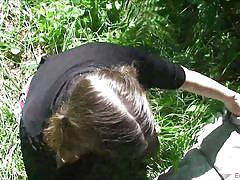 Naughty erin enjoys playing dirty in the woods