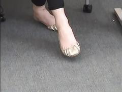 Candid college teen surveilliance shoeplay dangling feet