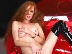 Sexy skinny redhead heather fetish style masturbation