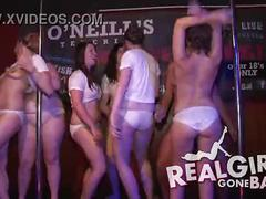 Sexy girls strip on stage for spring break wet t-shirt contest