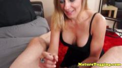 Cfnm wanking housewife trying out young cock