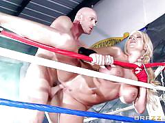 blonde, big tits, babe, sport, bald, from behind, boxing ring, standing sex, big tits in sports, brazzers network, johnny sins, summer brielle