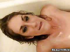 Amateur housewife choking on a dick in the shower