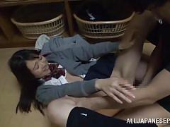 School girl can handle two dicks