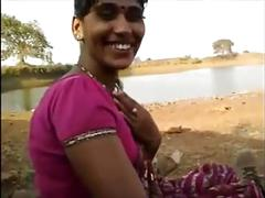Indian blowjob her lover outdoor