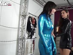 Mistress wrapped her in a full body latex outfit