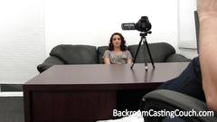 Brenna auditions for a job at backroom casting couch
