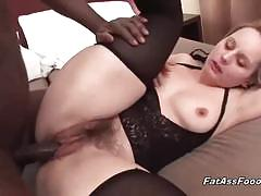 Blonde milf gets banged by a horny black stud