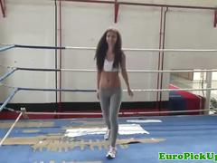 Picked up euro babe at gym gets cumshot
