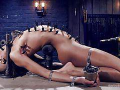 bdsm, vibrator, brunette, ebony babe, clamps, bondage device, executor, metal bondage, device bondage, kink, orlando, nikki darling
