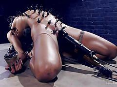 Nikki makes acquaintance with the bondage device