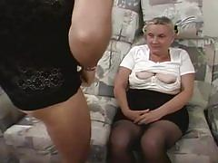 Horny father and son fuckers drilling whore grandma hot threesome