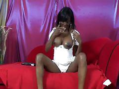 Busty ebony down with black cock for hot milkathon
