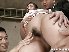 Brunette jp babe minori gets screwed by horny suits