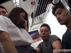 Japanese schoolgirl gets harassed