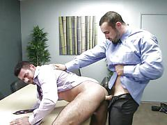 handjob, deepthroat, office, muscled, gay blowjob, gay anal, at work, on the table, the gay office, men.com, billy santoro, jaxton wheeler