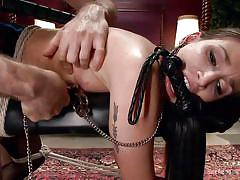 bdsm, babe, torture, brunette, tied up, from behind, clamp, electric wand, rope bondage, sex and submission, kink, james deen, mystica jade