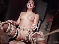 Abella screams with delight all tied up