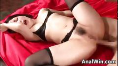 Dirty asian chick creampied in the butt