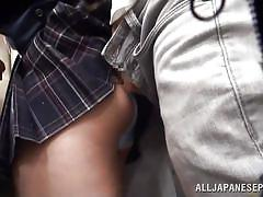 Japanese slut gets aroused in public transport
