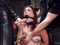 bdsm, tied up, mouth fuck, training, sex slave, brunette babe, ball gag, clothespins, rope bondage, the training of o, kink, owen gray, rilynn rae
