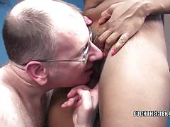 Lusty ebony milf kelly rides a fat cock of a geek