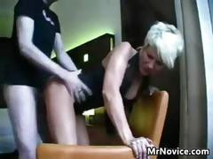 Short haired blonde sucking and fucking