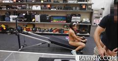 Brunette teen is sucking and fucking at the pawn shop