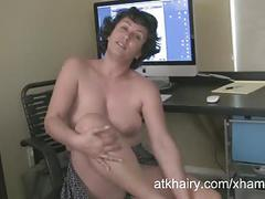 Mature and hairy desiree shows off her glorious bush