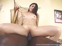 Black guy choke fucks tiny asian coed