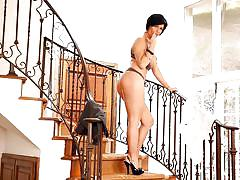 Busty shay fox mastrubates on the stairs
