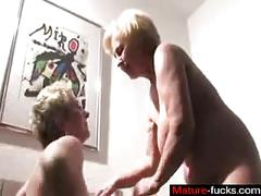 Two old blondes play with their fat pussies