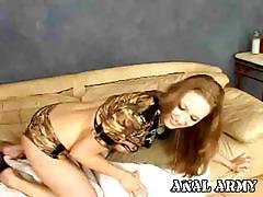 Gorgeous army slut tina fine rubbing her asshole.