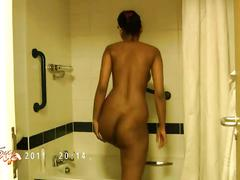 Indian pornstar divya stripping naked exposing her bigtits in shower