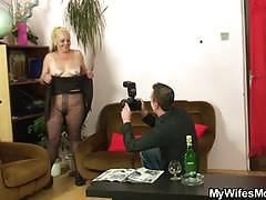 Blonde mature slut gets banged by an young stud