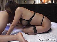 Busty japanese gives a blowjob and gets licked