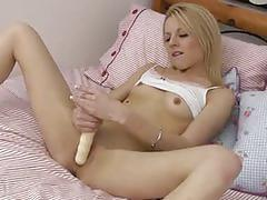 Hot blonde masturbating her tight pussy with dildo