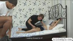 Teen amateur girlfriend blindfolded and fucked real hard