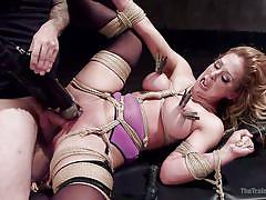 blonde, threesome, bdsm, dildo, vibrator, busty milf, training, clothespins, rope bondage, the training of o, kink, cherie deville, tommy pistol