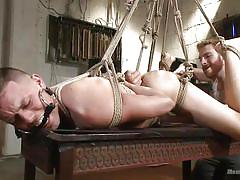 bdsm, hanging, vibrator, anal dildo, gay handjob, gay, ball gag, gay punishment, rope bondage, men on edge, kink men, derek scott