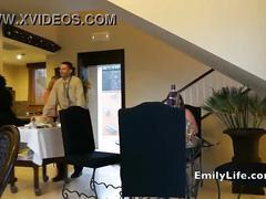 Naked girls open door for room service