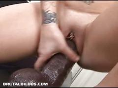 Petite jenna fills her pussy with a thick brutal dildo