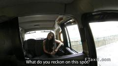 Tattooed british amateur facial in fake taxi