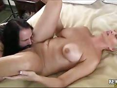Blonde milf gets her sweet pink cunt munched