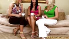 Cfnm milfs in femdom group teasing cock