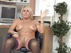 chennin blanc, blonde, milf, masturbation, stockings, toys, huge dildo, dildo, mom, beauty, fishnets, masturbating, glamour