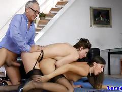 Mature british couple in threeway with a babe