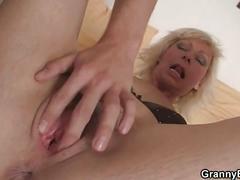 Nice blonde woman pleases neighbor