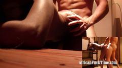 Horny black african slut interracial